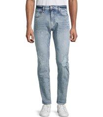 buffalo david bitton men's james-x cropped tapered-fit jeans - indigo - size 32