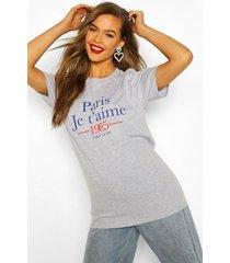 paris french slogan t-shirt, grey marl