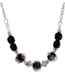 2028 silver-tone black floral beaded necklace