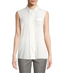 sleeveless blouse with beaded trim