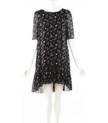 yves saint laurent black floral print silk ruffle knee length dress black/floral print sz: s