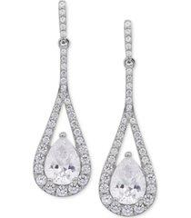 arabella swarovski zirconia teardrop and pave drop earrings in sterling silver
