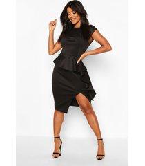peplum frill detail midi dress, black
