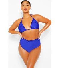 plus ruffle triangle bikini, blue