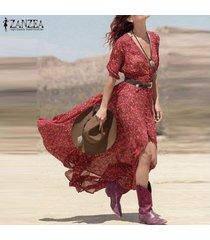 s-5xl zanzea mujeres escotados botones de camisa vestido maxi largo del vestido vestido de tirantes -rojo