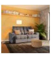 sofá 3 lugares retrátil e reclinável nice suede grafite
