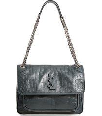 saint laurent medium niki croc embossed leather shoulder bag - green