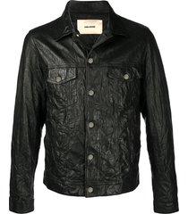 zadig & voltaire base crinkle leather jacket - black