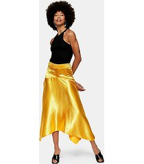 metallic satin asymmetric skirt - marigold