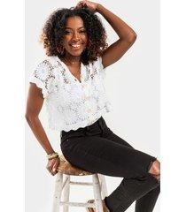 edina crochet cropped cardigan - white