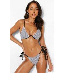 mono gestreept bikini broekje met zijstrikjes, mono