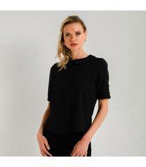 blusa negra cuello redondo y silueta suelta para mujer 97294