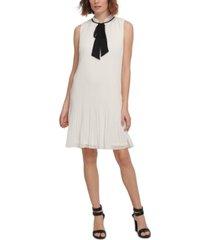 dkny sleeveless pleated tie-neck shift dress