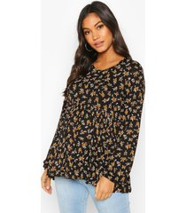 maternity ditsy smock top, black