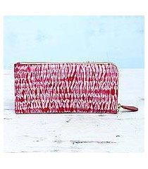 batik cotton clutch, 'cloven cherry' (india)