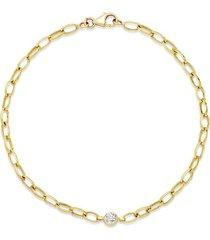 small edith link bracelet with single diamond bezel accent
