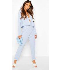 crop blazer & self fabric belt trouser suit set, pale blue