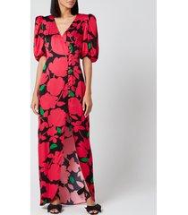 de la vali women's ohio printed satin long dress - pink primrose - uk 12