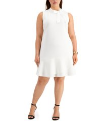 betsey johnson trendy plus size tie-neck a-line dress