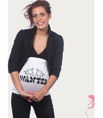 op en top zwanger zwangerschaps buikband wanted twins wit