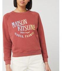 maison kitsuné women's sweatshirt palais royal - dark pink - l