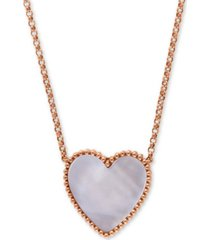"""effy mother-of-pearl heart 18"""" pendant necklace in 14k rose gold"""