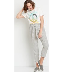 maurices womens high rise white stripe linen tie waist ankle pants