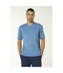 camiseta hering unissex manga curta com bolso indifio azul