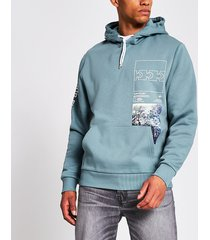 river island mens blue printed long sleeve hoodie