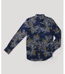 camisa casual estampada navy perry ellis