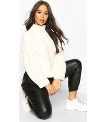 funnel neck top with side vents in teddy fleece, cream