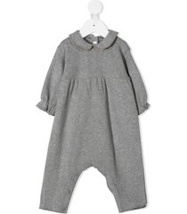zhoe & tobiah peter pan collar knitted romper - grey