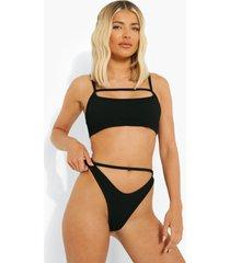 geribbelde bikini broekje met uitsnijding en textuur, black