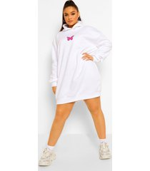 plus sweatshirt jurk met vlinder en capuchon, white