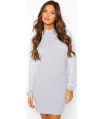 chiffon sleeve high neck dress, grey