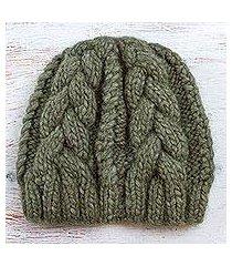 100% alpaca hat, 'olive braids' (peru)