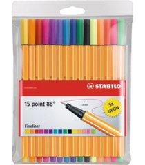 stabilo point 88 pen wallet set, 15 pieces