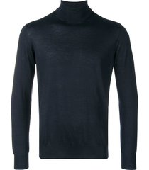 cruciani roll-neck fitted sweater - blue