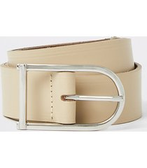 river island mens stone leather horseshoe buckle belt