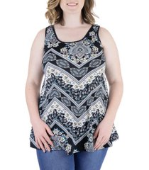 plus size flared loose fit paisley tank top