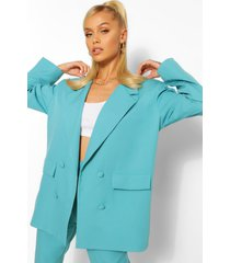 boxy oversized double breasted dad blazer, turquoise