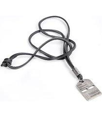 colar masculino couro sandro moscoloni aubrey preto