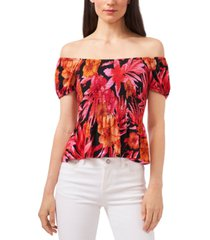 riley & rae tropical-print smocked top, created for macy's