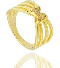 anel dona diva semi joias laço dourado