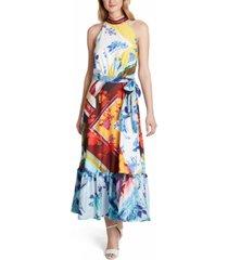 tahari asl sleeveless mock-neck printed maxi dress