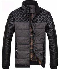 chaqueta hombres calida cuero pu poliester 004 negro gris