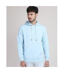 blusão de moletom masculino com capuz e bolso canguru azul claro