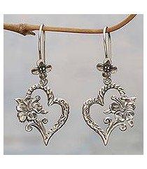 sterling silver dangle earrings, 'hibiscus bloom' (indonesia)