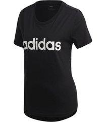 camiseta adidas estampa logo slim feminina dp2361, cor: preto/branco, tamanho: g