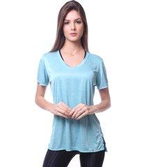 blusa simony lingerie camiseta melange frais azul - tricae